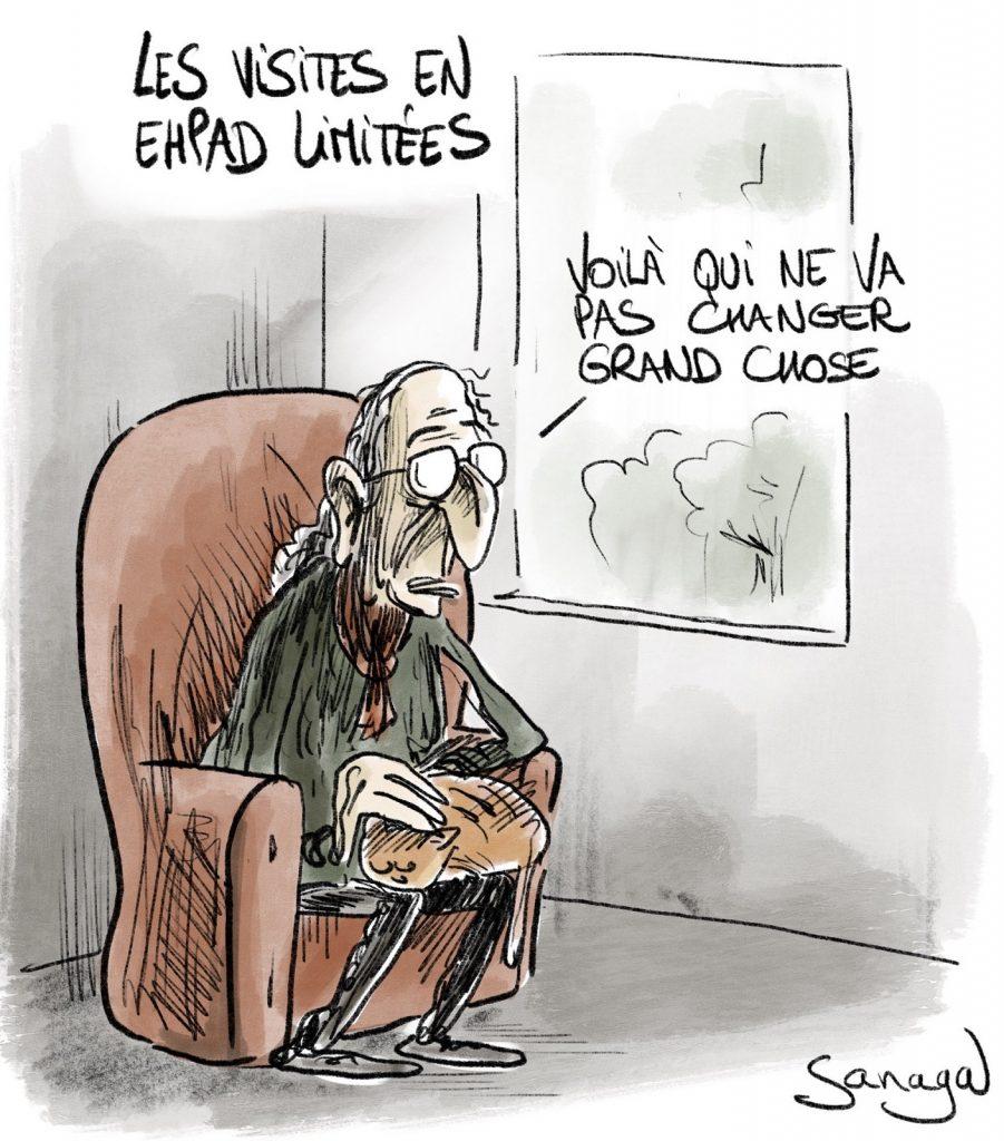 dessin presse humour coronavirus Ehpad image drôle limitation visites
