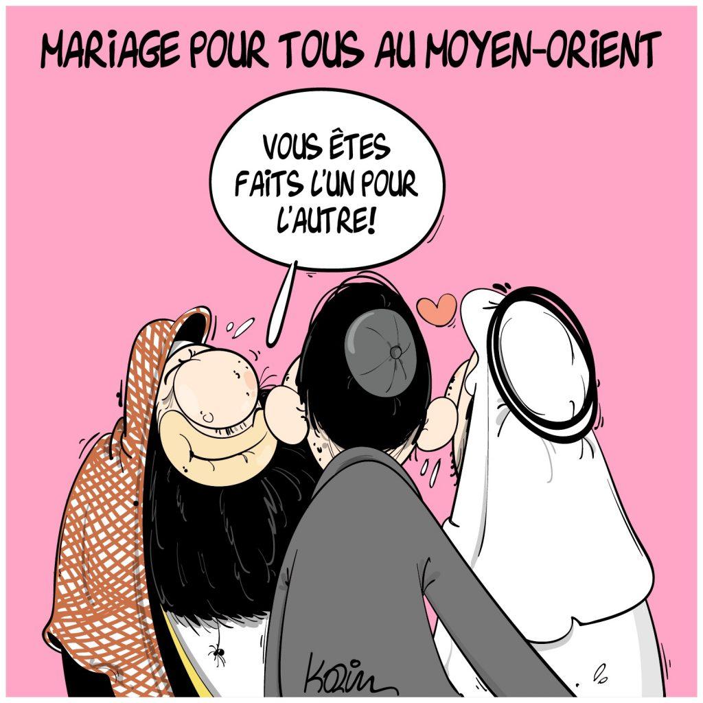 dessin presse humour Moyen-Orient image drôle accords d'Abraham