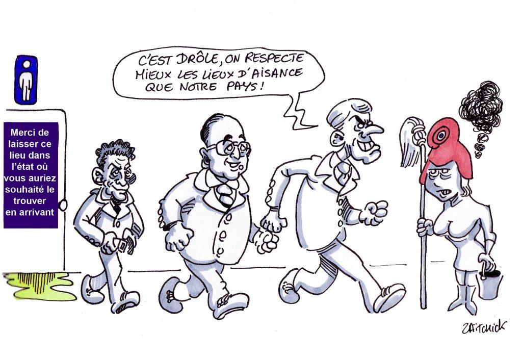 dessin presse humour Emmanuel Macron image drôle France anciens présidents