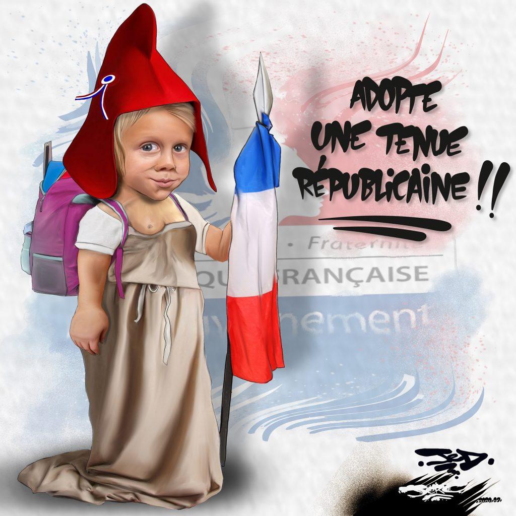dessin presse humour Jean-Michel Blanquer image drôle école tenue républicaine