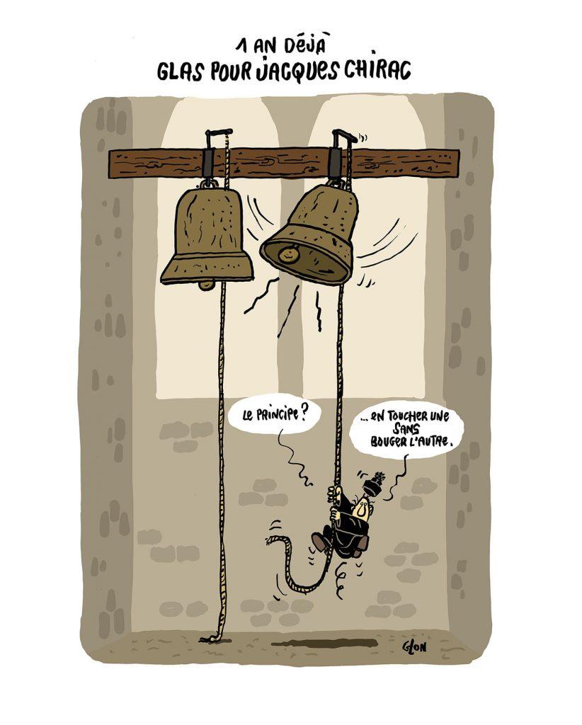 dessin presse humour anniversaire mort Jacques Chirac image drôle sonneur cloche
