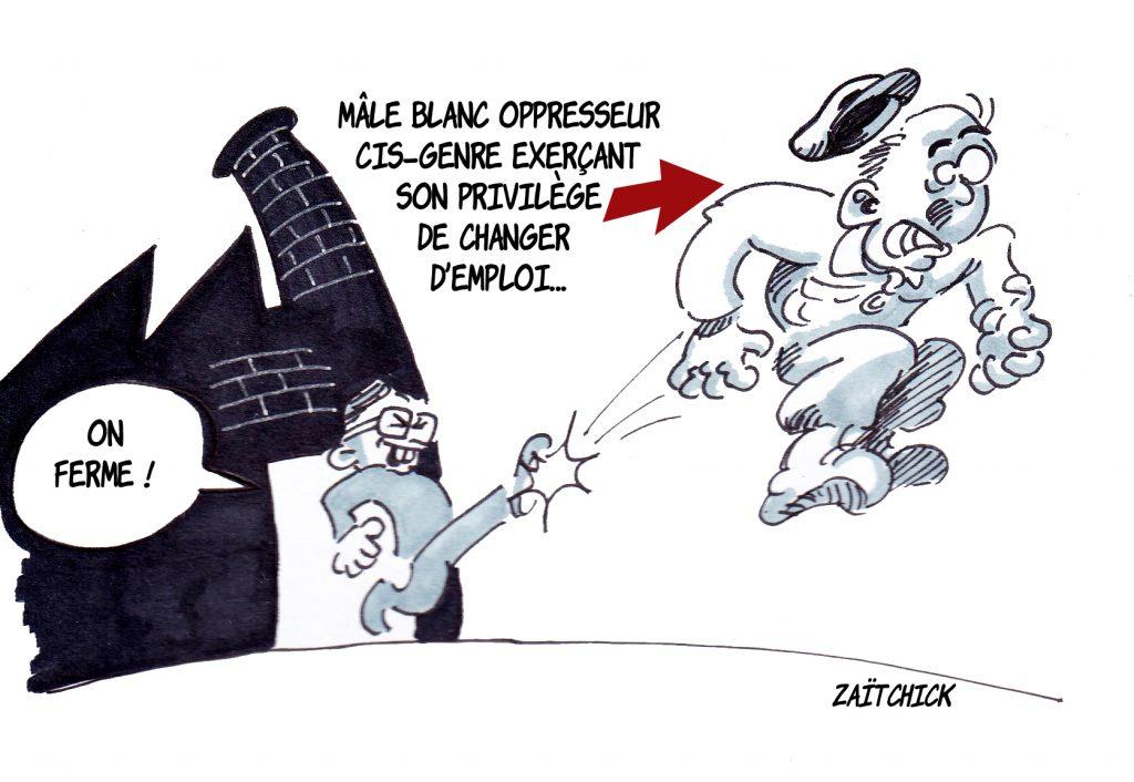 dessin presse humour privilège blanc image drôle mondialisation licenciements