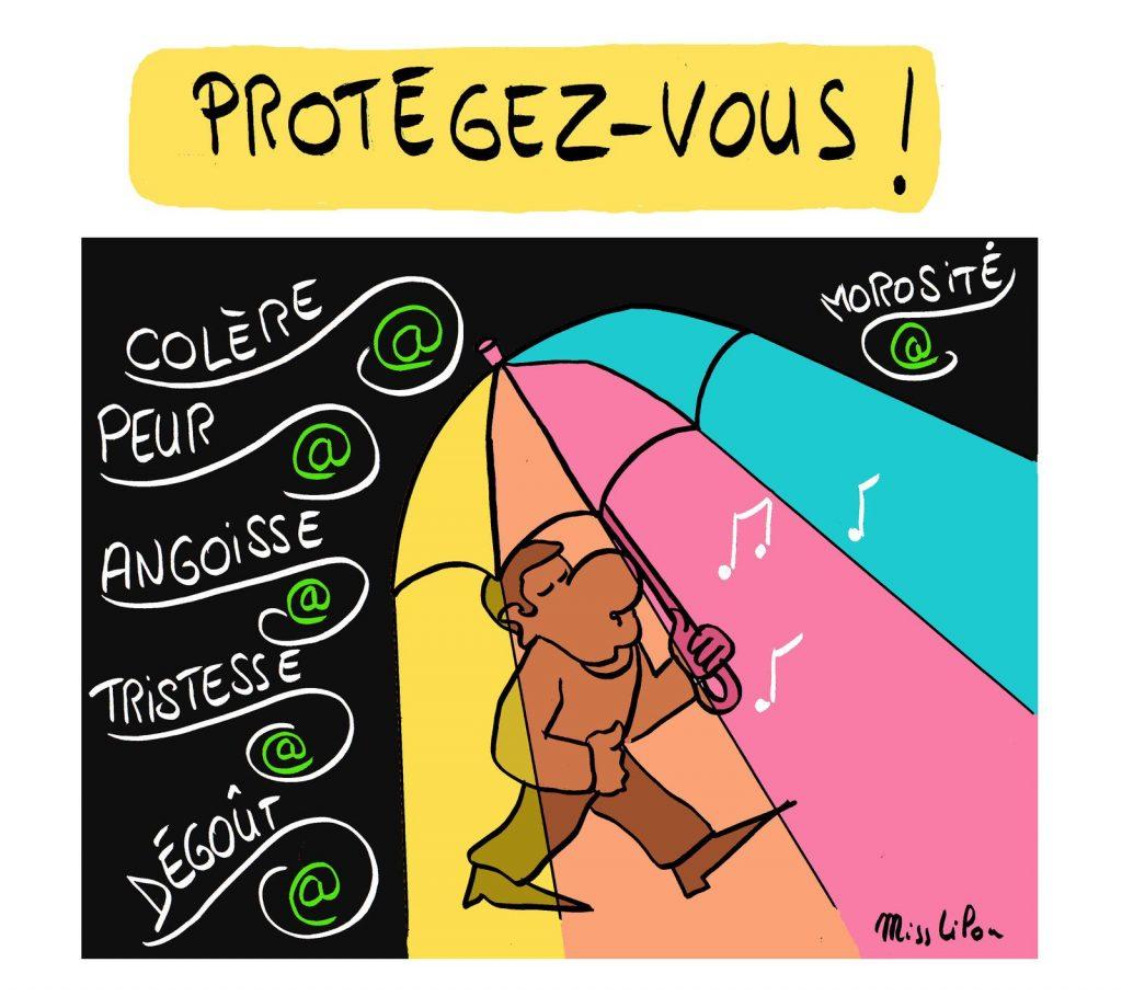 dessin presse humour crise sociale image drôle civilisation morosité protection