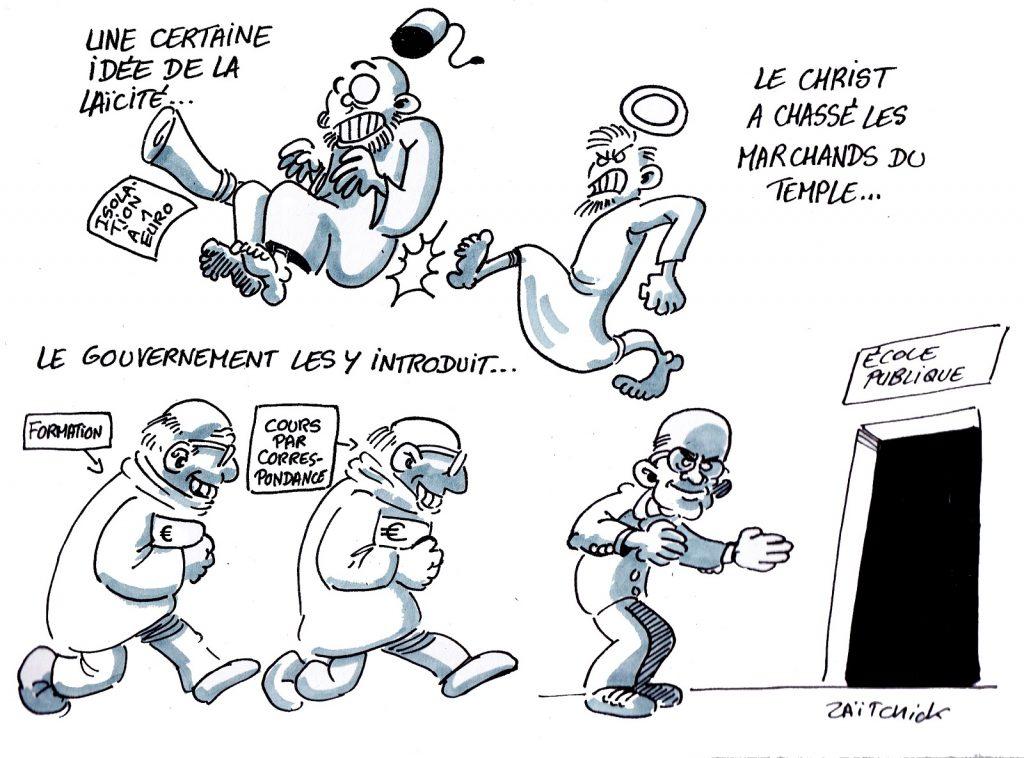 dessin presse humour Jean-Michel Blanquer image drôle école publique laïcité