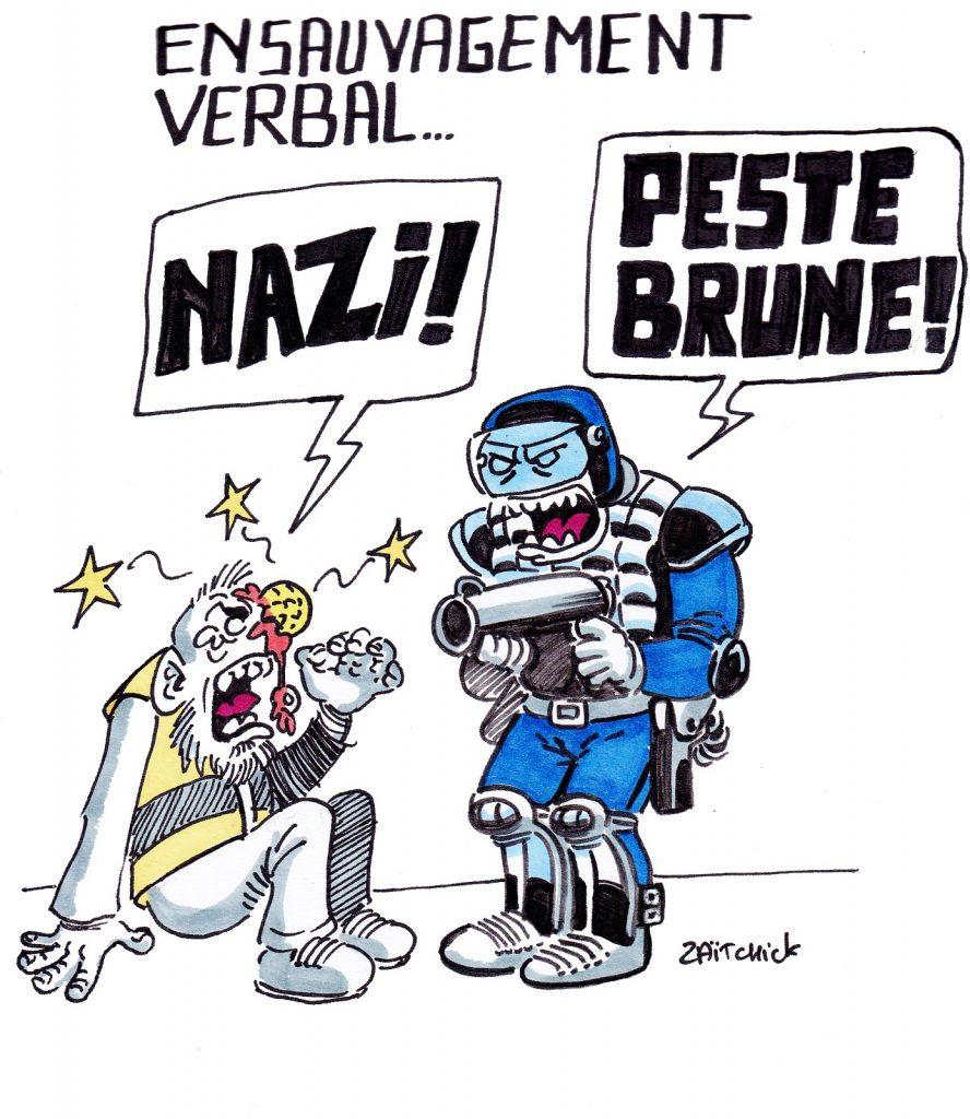 dessin presse humour image drôle ensauvagement CRS Gilets Jaunes
