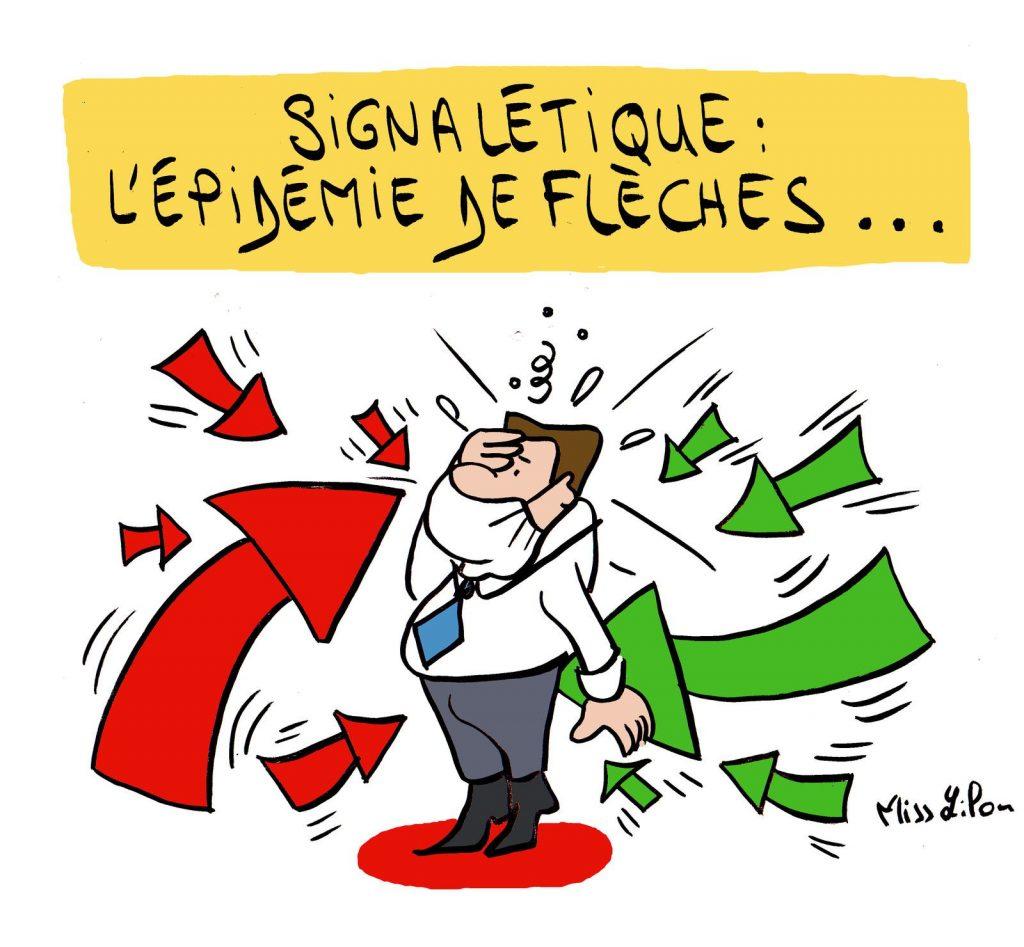 dessin presse humour signalétique image drôle vœux flèches épidémie