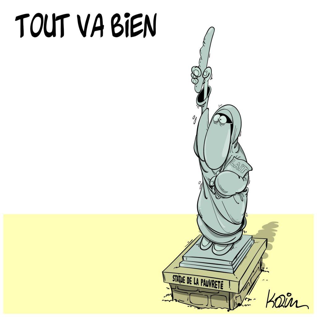 dessin presse humour Algérie pauvreté image drôle statue pain lait