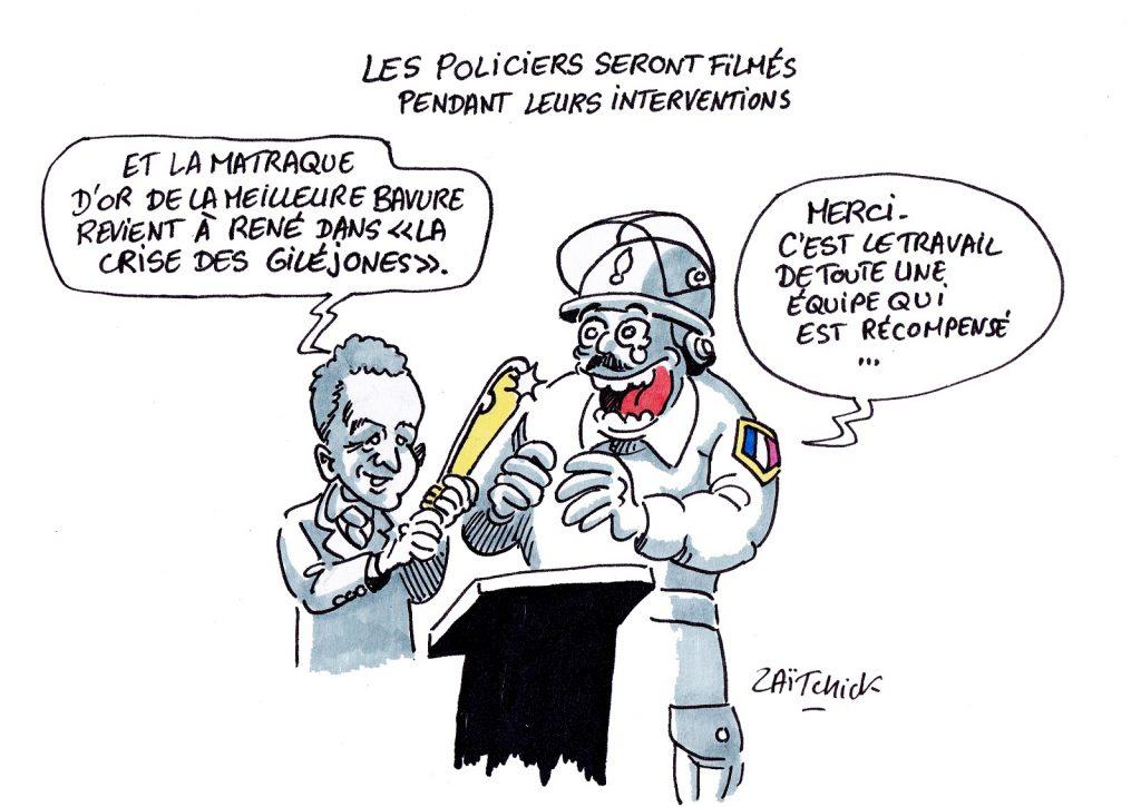 dessin presse humour Gérald Darmanin image drôle bavures policières matraque