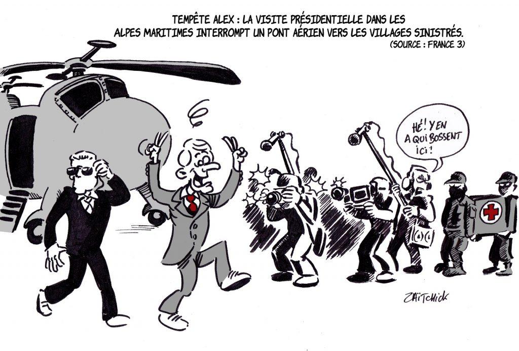 dessin presse humour Emmanuel Macron image drôle visite officielle Alpes-Maritimes tempête Alex