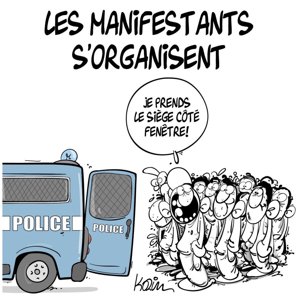 dessin presse humour Algérie Hirak image drôle manifestants organisation