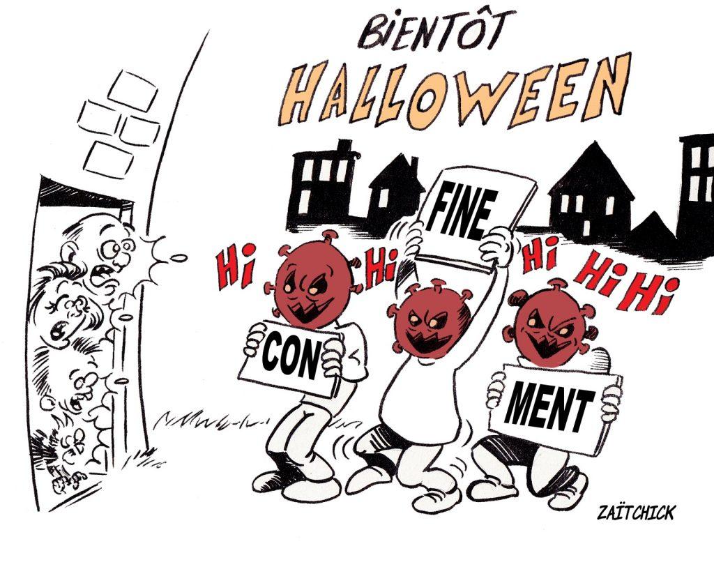 dessin presse humour coronavirus covid-19 image drôle Halloween reconfinement