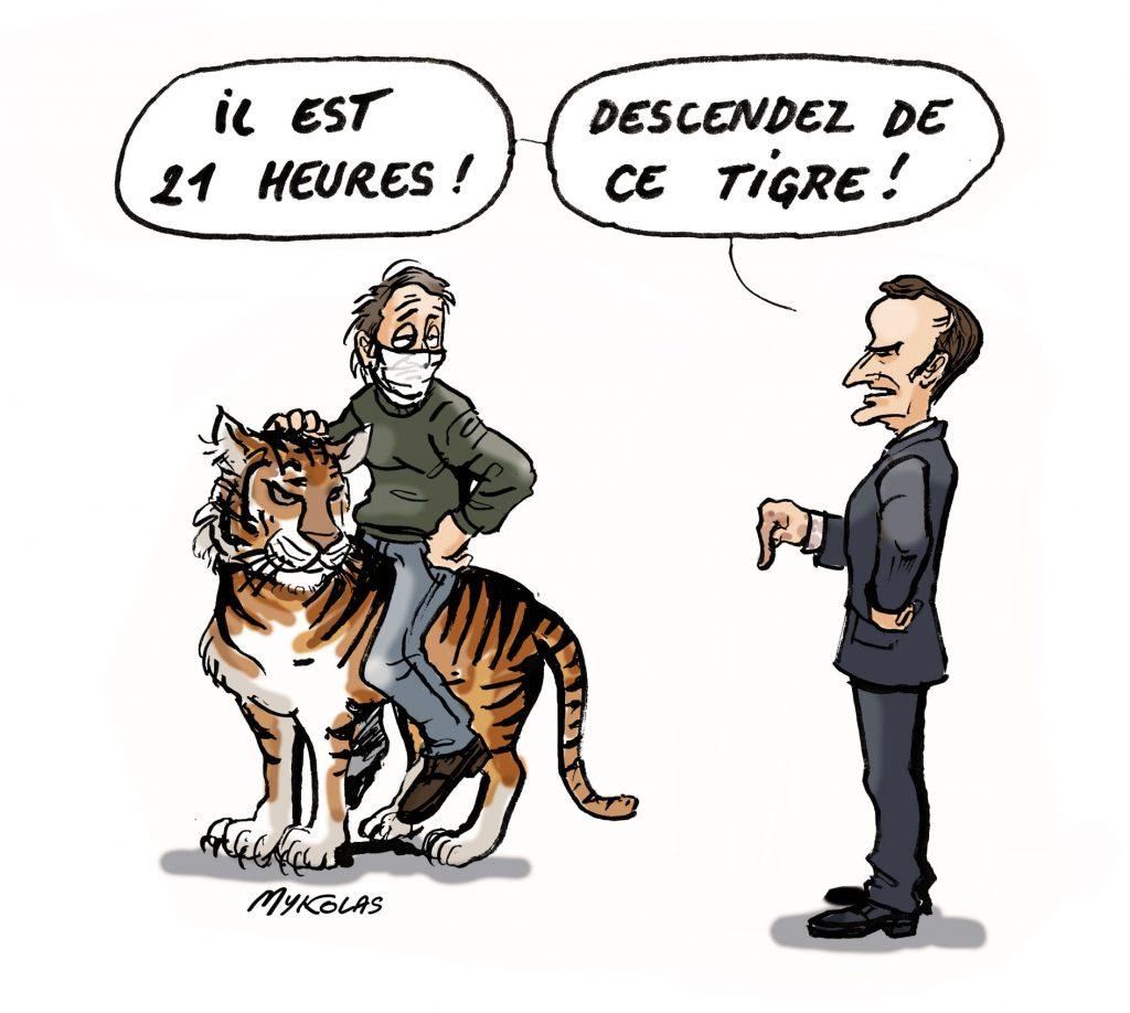 image drôle Emmanuel Macron dessin humour couvre-feu enfourcher tigre