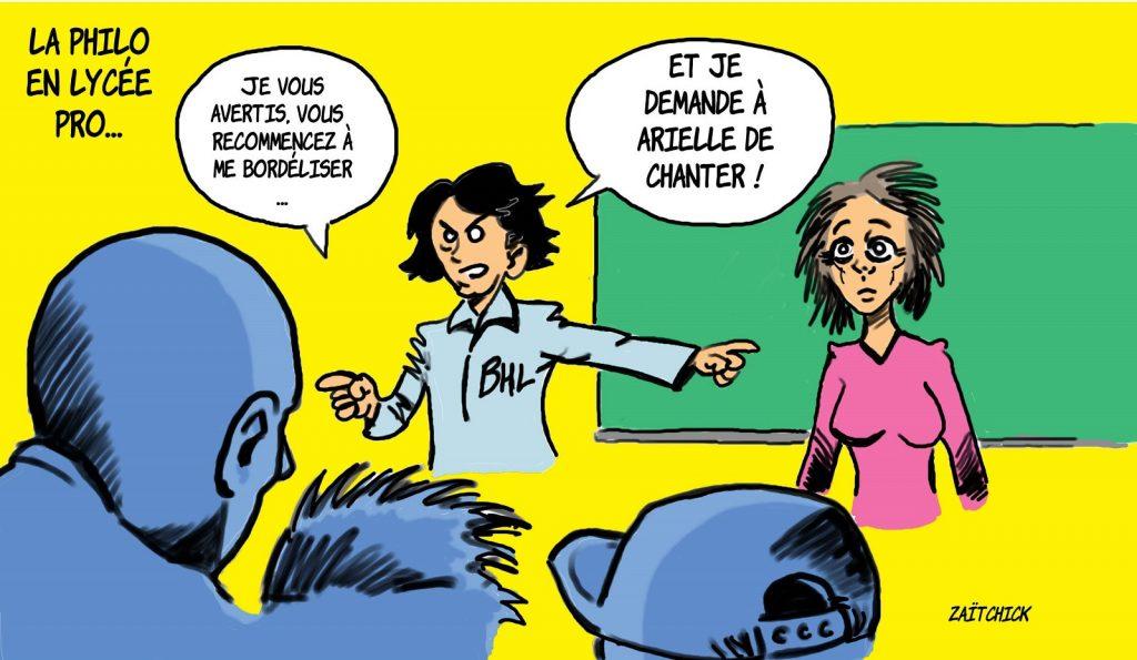 dessin presse humour philosophie lycée professionnel image drôle Bernard-Henri Lévy Arielle Dombasle