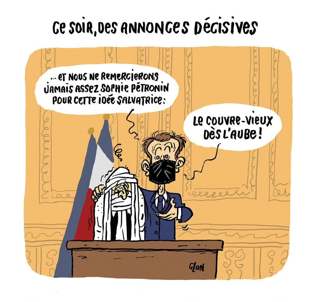 dessin presse humour Emmanuel Macron image drôle Sophie Pétronin couvre-feu