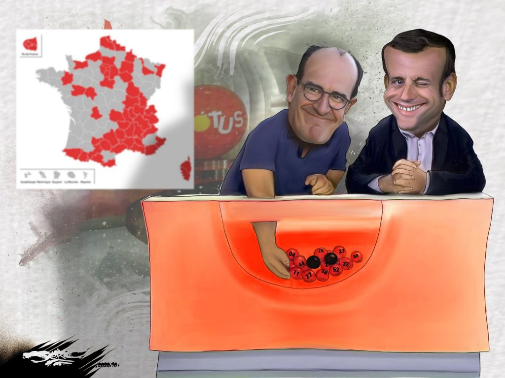 dessin presse humour coronavirus couvre-feu image drôle Emmanuel Macron Jean Castex