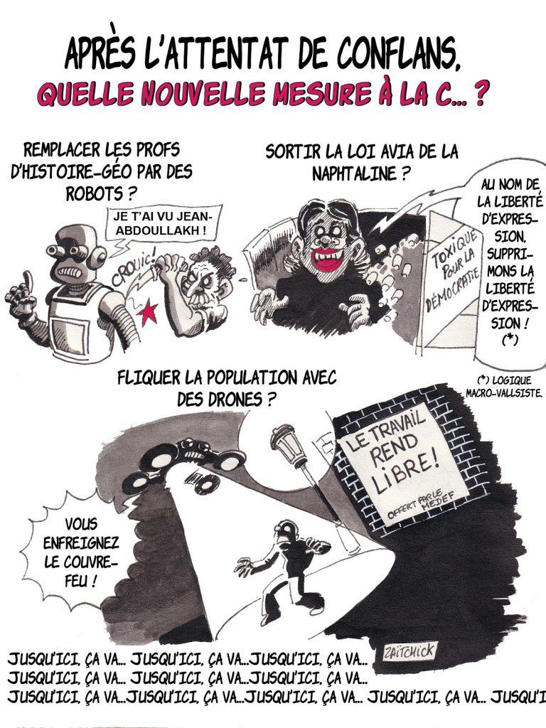 dessin presse humour mesures fortes image drôle Conflans attentat Samuel Paty