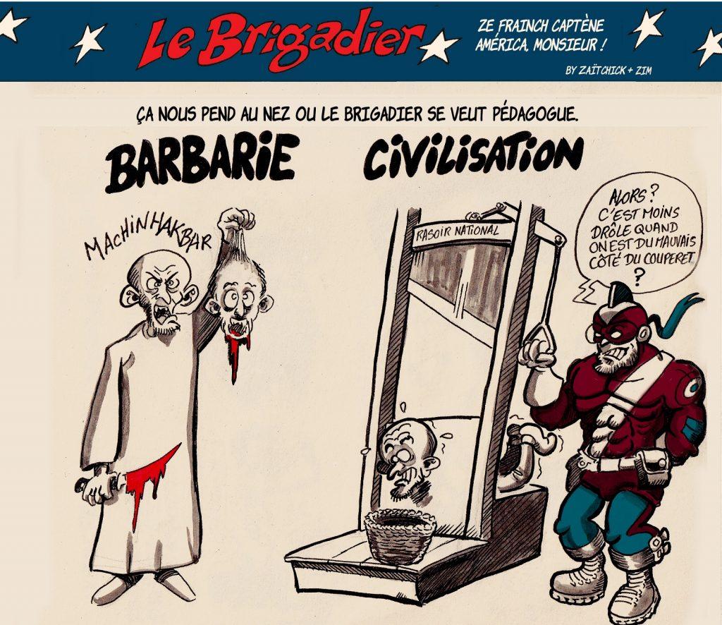 image drôle Le Brigadier dessin humour terroristes barbarie civilisation