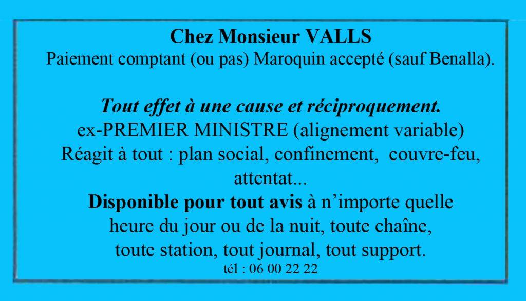 dessin presse humour Manuel Valls image drôle marabout carte de visite