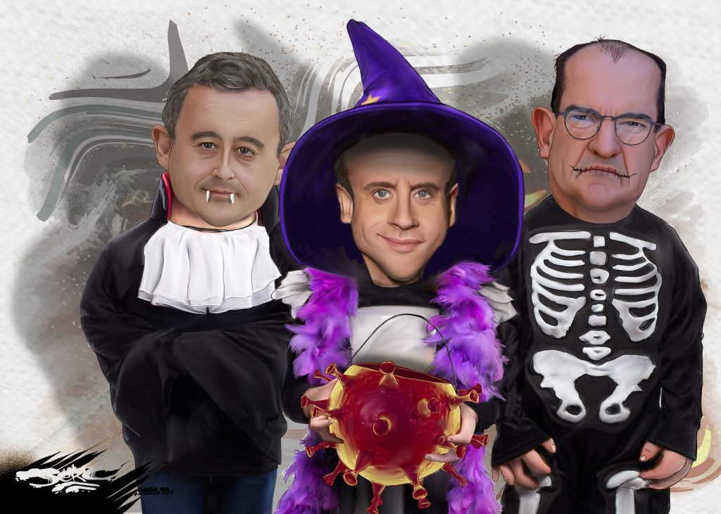 dessin presse humour coronavirus couvre-feu image drôle Halloween confinement Macron Darmanin Castex