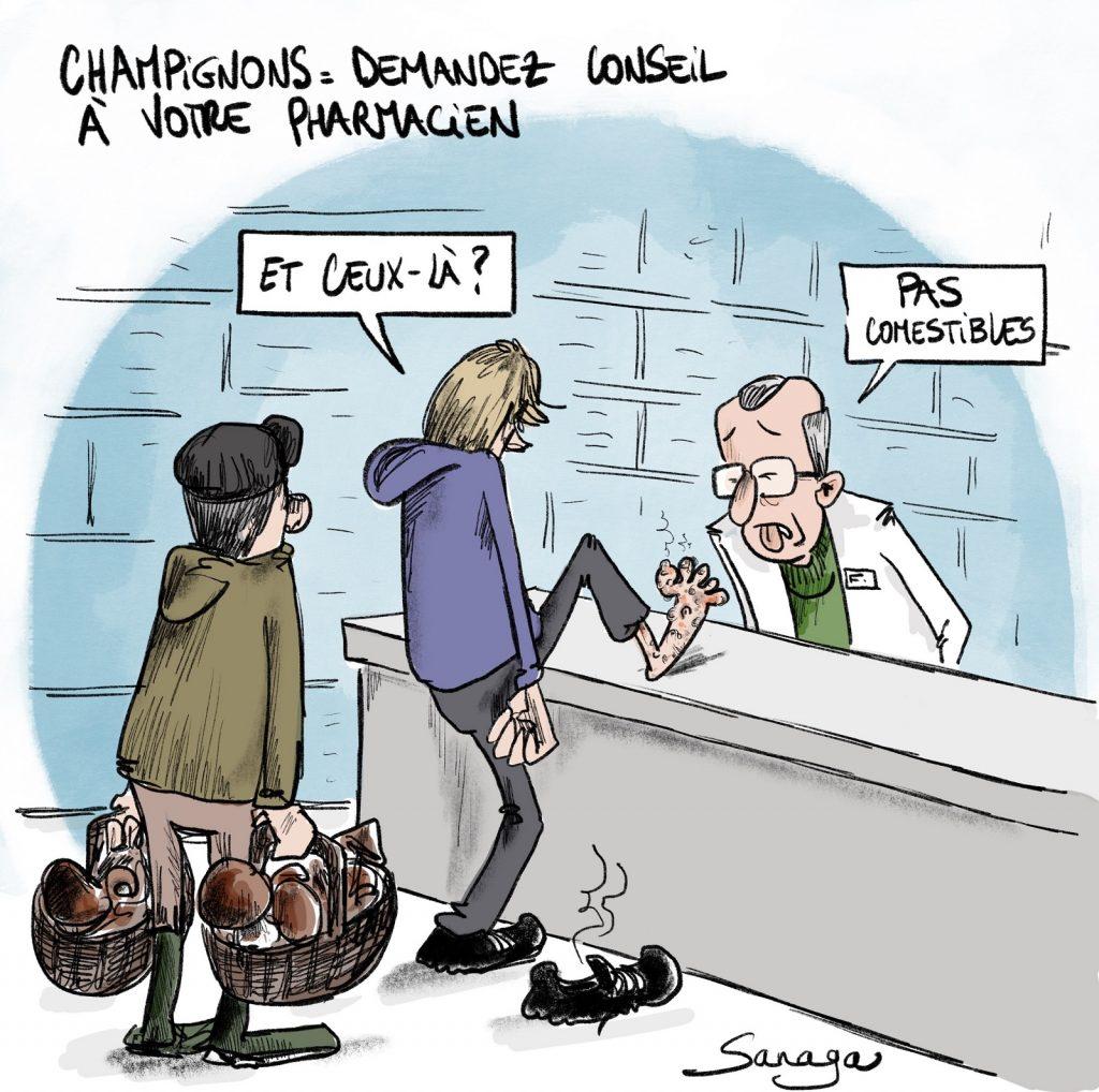 dessin presse humour champignon pharmacien image drôle comestible mycose