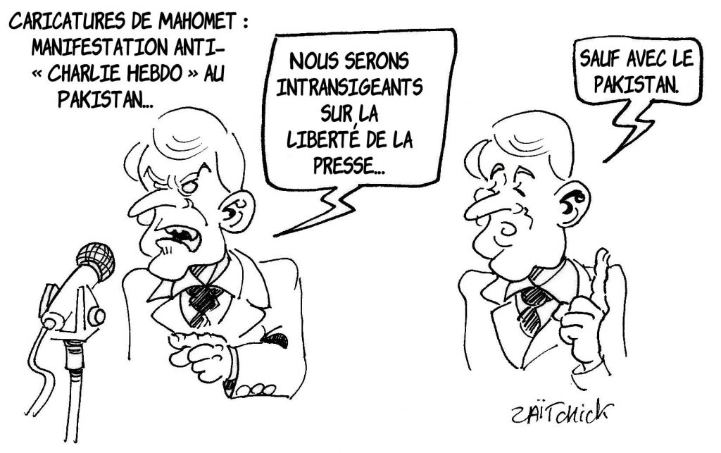 dessin presse humour Emmanuel Macron image drôle charlie hebdo Pakistan