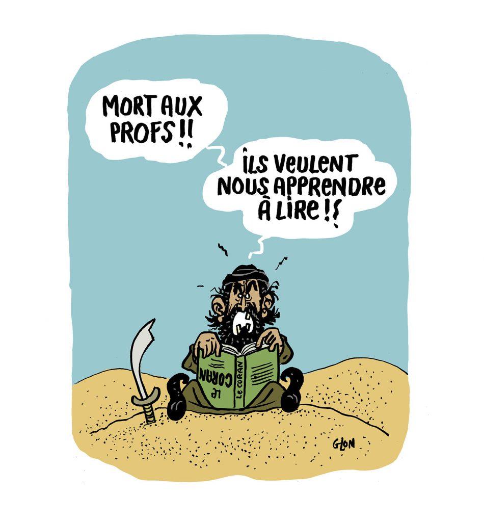 dessin presse humour islamiste terrorisme image drôle lecture école professeur