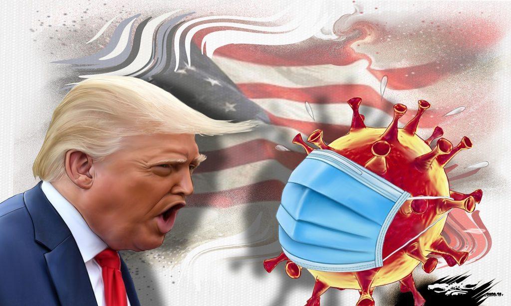 dessin presse humour Donald Trump drôle coronavirus covid-19 positivité