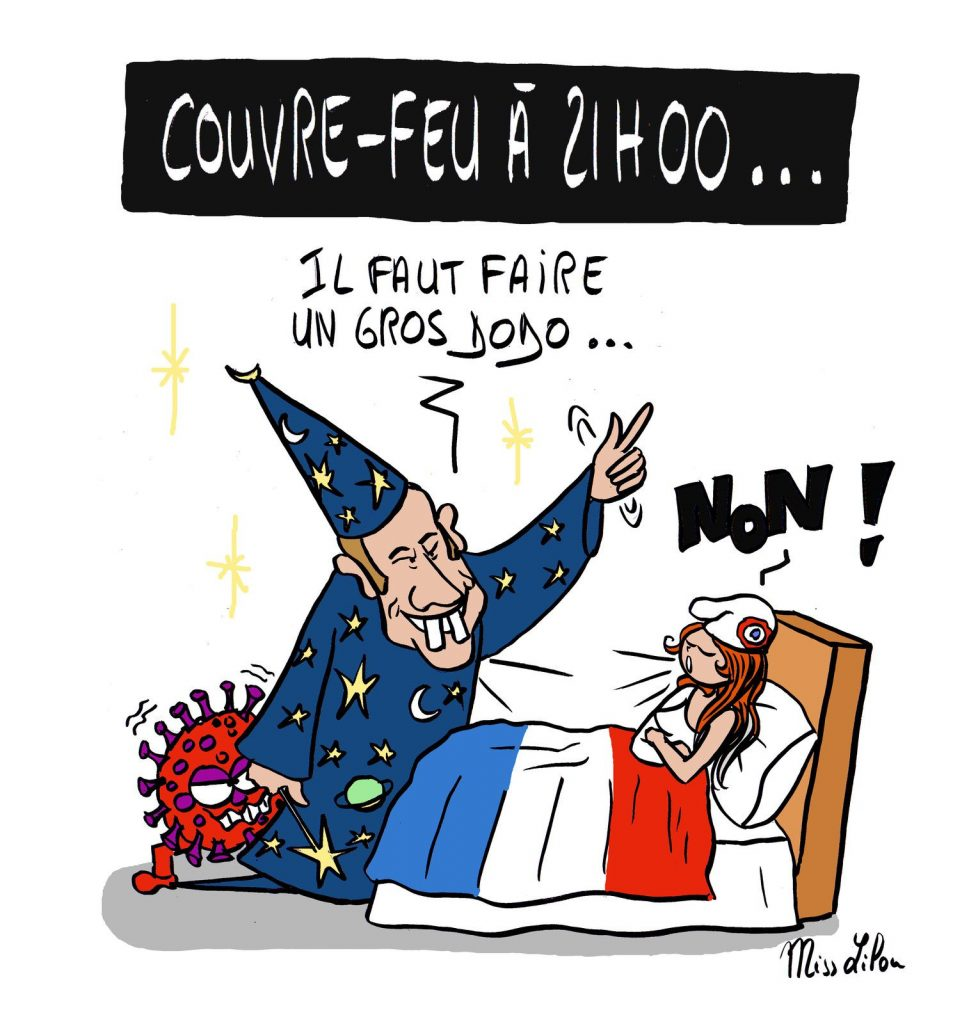 dessin presse humour coronavirus covid-19 image drôle couvre-feu