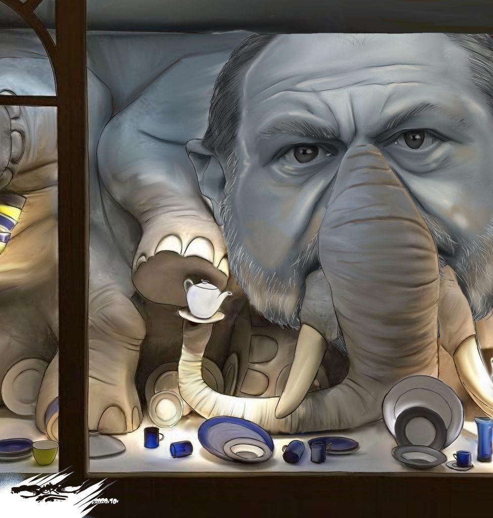 dessin presse humour Éric Dupond-Moretti drôle éléphant magasin porcelaine