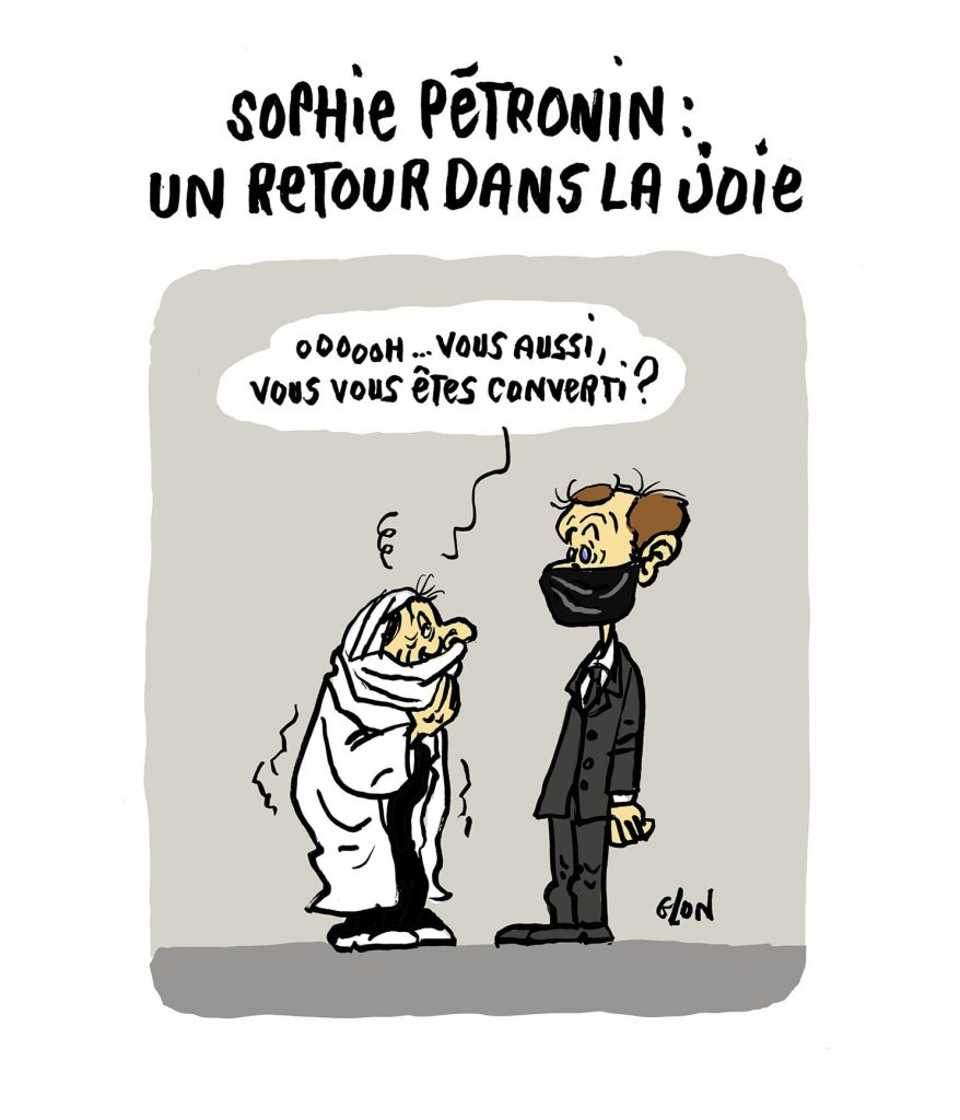 dessin presse humour retour Sophie Pétronin image drôle Emmanuel Macron conversion