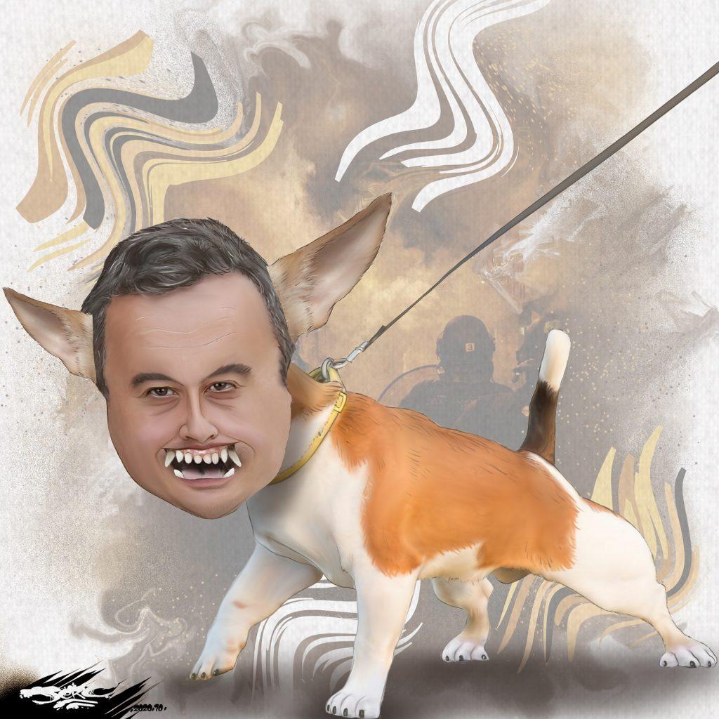 dessin presse humour Gérald Darmanin image drôle chien d'attaque