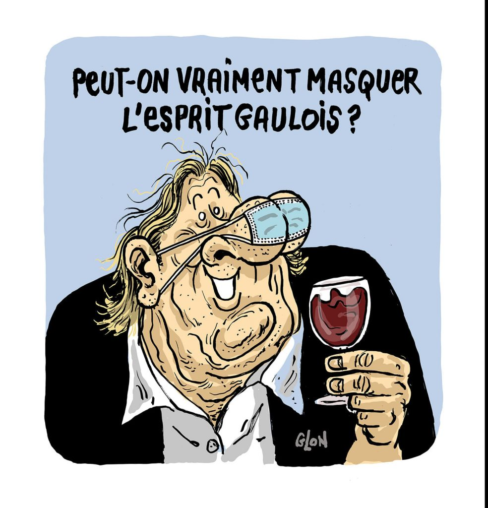 dessin presse humour Gérard Depardieu image drôle coronavirus port masque