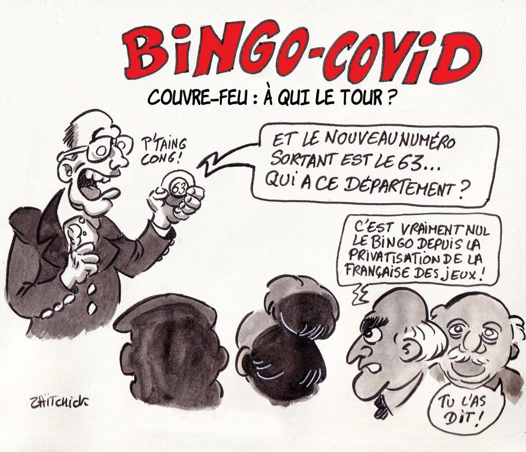 dessin presse humour coronavirus covid19 image drôle Jean Castex couvre-feu