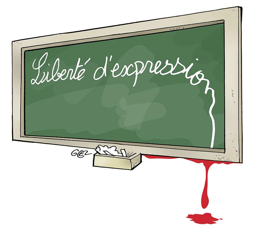 dessin presse humour Conflans-Sainte-Honorine image drôle décapitation professeur histoire