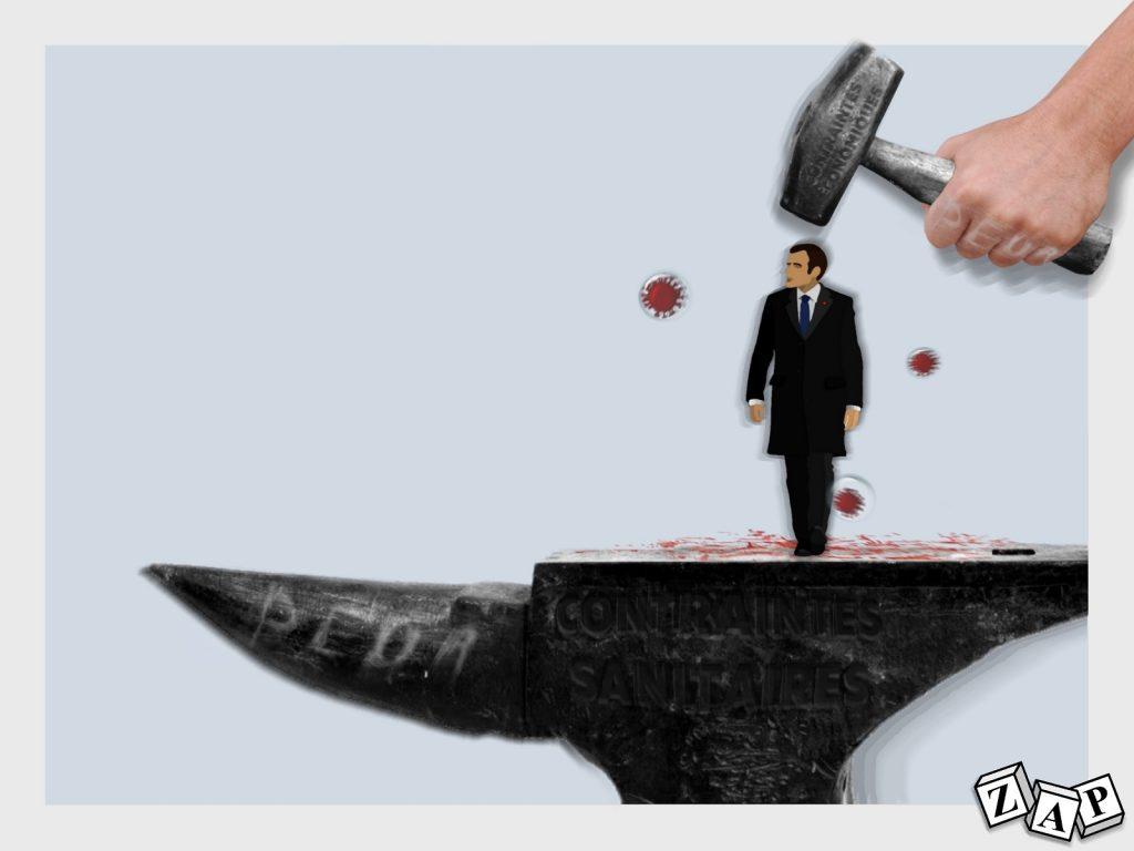 dessin presse humour coronavirus confinement image drôle Emmanuel Macron marteau enclume