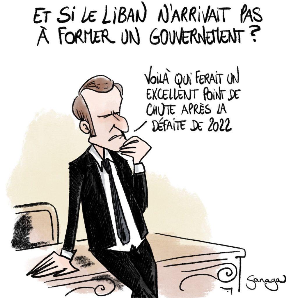 dessin presse humour Emmanuel Macron image drôle Liban présidentielle 2022