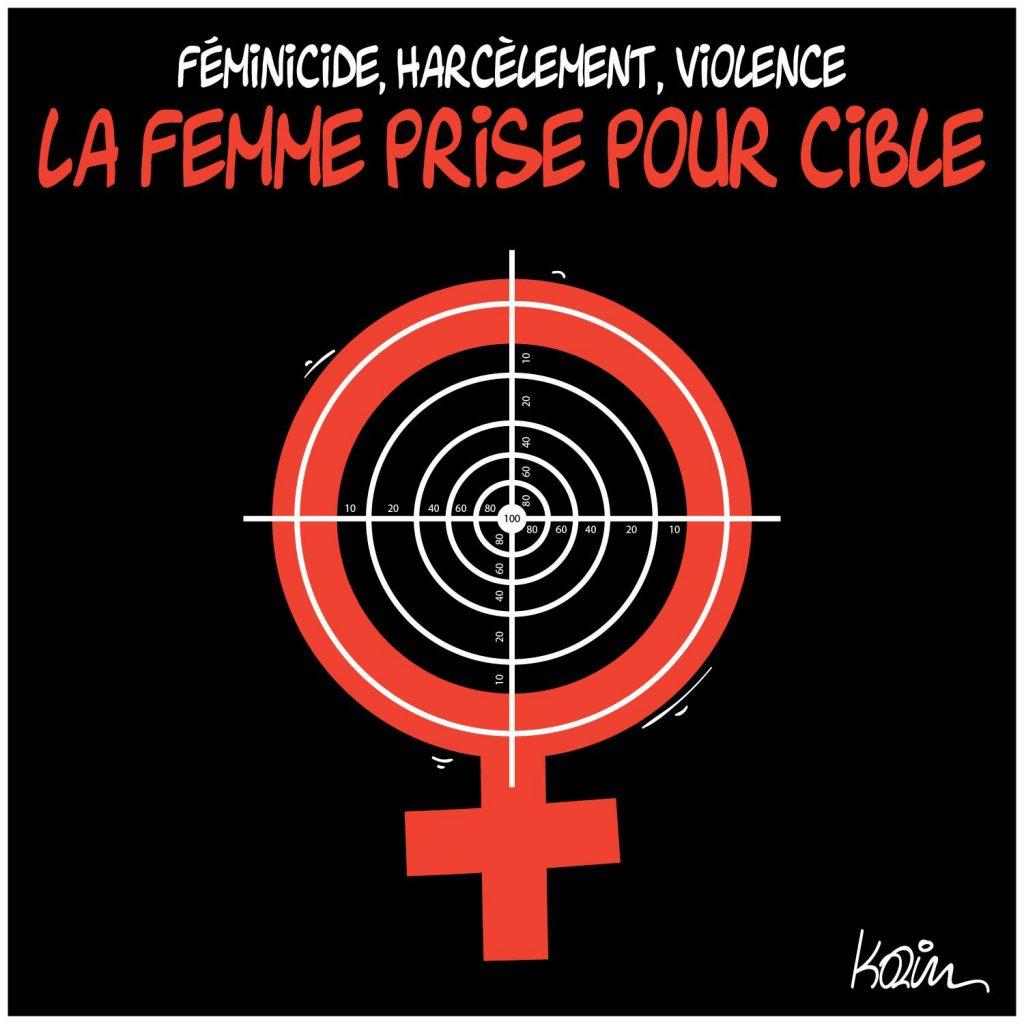 dessin presse humour féminicides harcèlement image drôle femmes cible