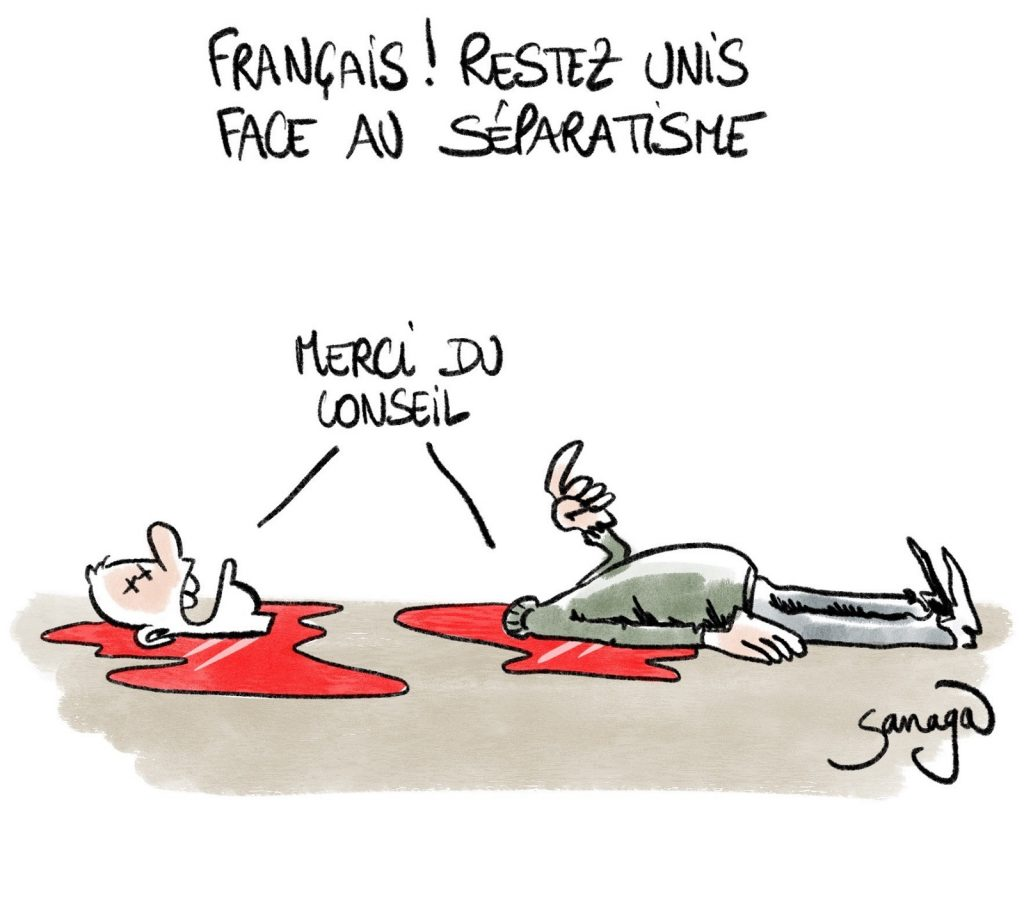 dessin presse humour Samuel Paty image drôle décapitation séparatisme français unité