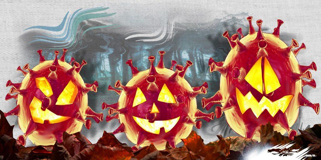 dessin presse humour coronavirus couvre-feu image drôle Halloween citrouilles