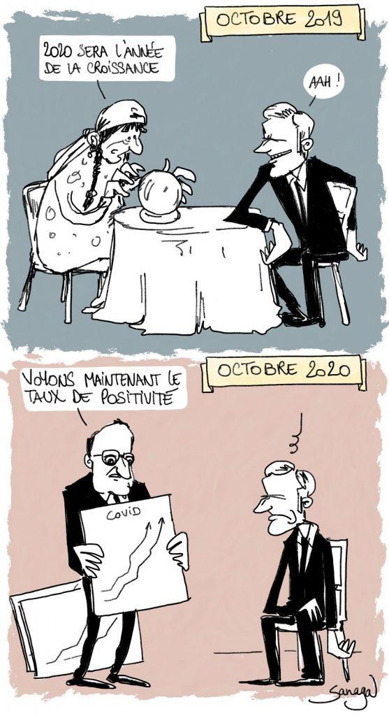 dessin presse humour coronavirus croissance image drôle Emmanuel Macron Jean Castex