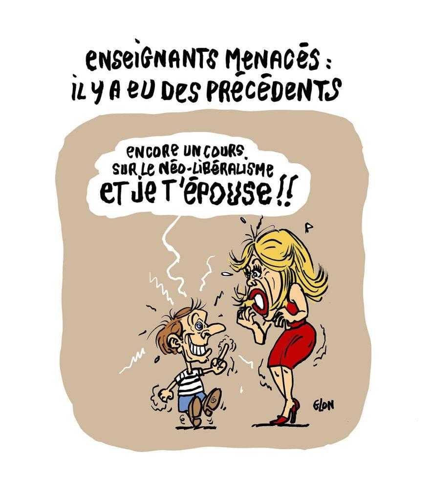 dessin presse humour enseignants menace image drôle Emmanuel Macron Brigitte Macron