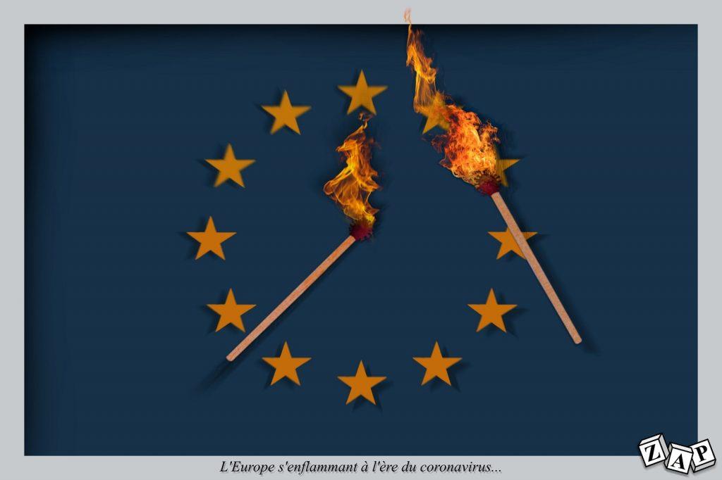 dessin presse humour coronavirus covid19 image drôle Europe enflammement allumettes
