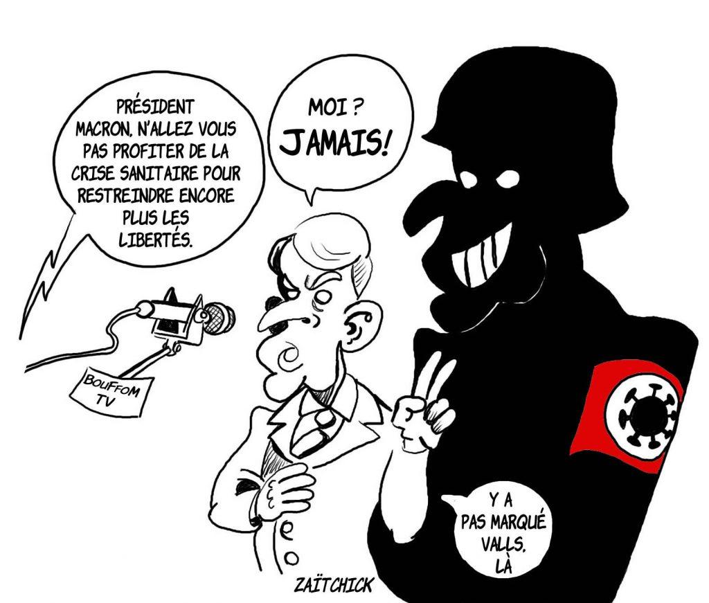dessin presse humour Emmanuel Macron image drôle crise sanitaire liberté individuelle