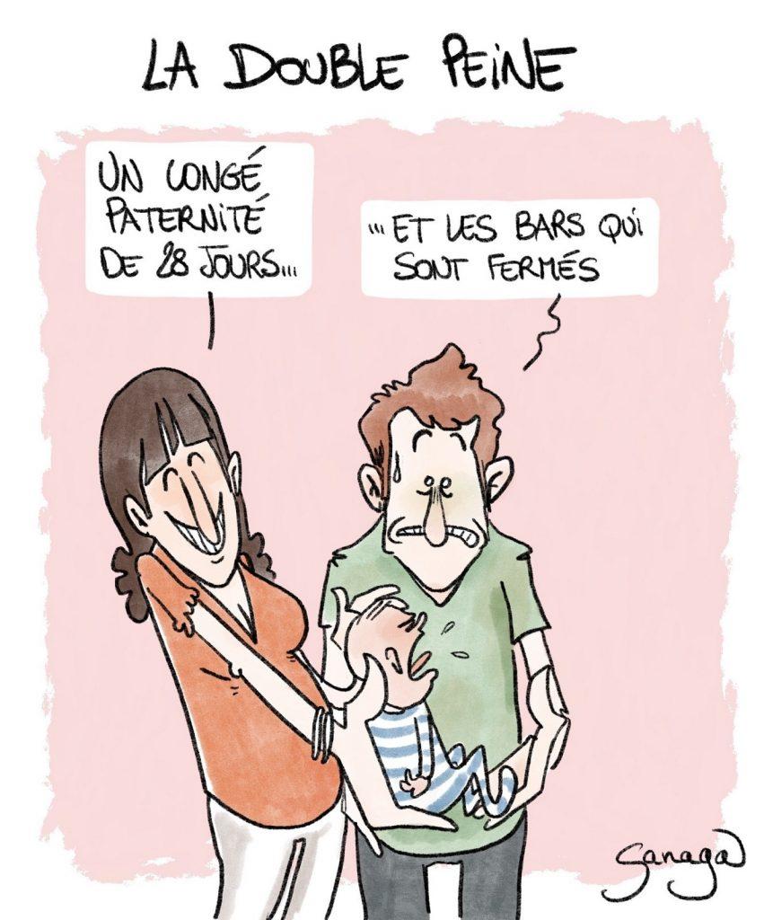 dessin presse humour coronavirus fermeture bars image drôle couvre-feu congé paternité