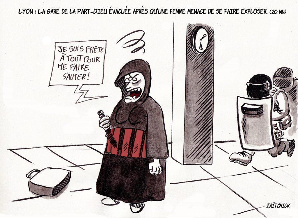 dessin presse humour Lyon Part-Dieu image drôle menace terroriste