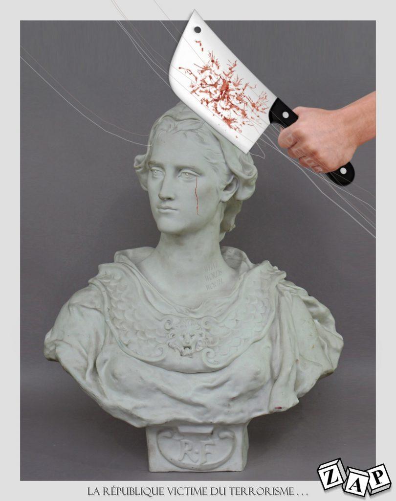 dessin presse humour République décapitation image drôle Marianne attentat