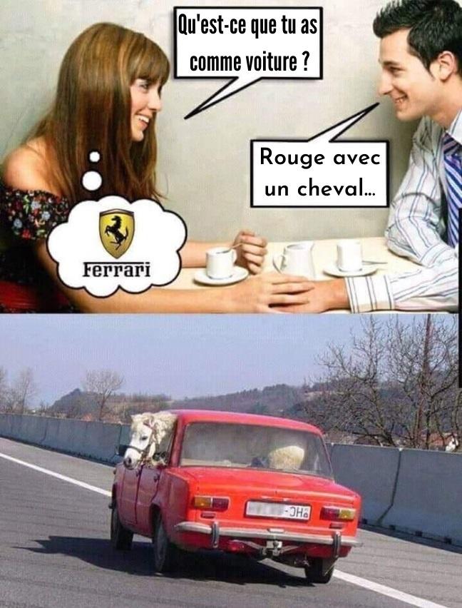 dessin humour drague voiture image drôle Ferrari cheval