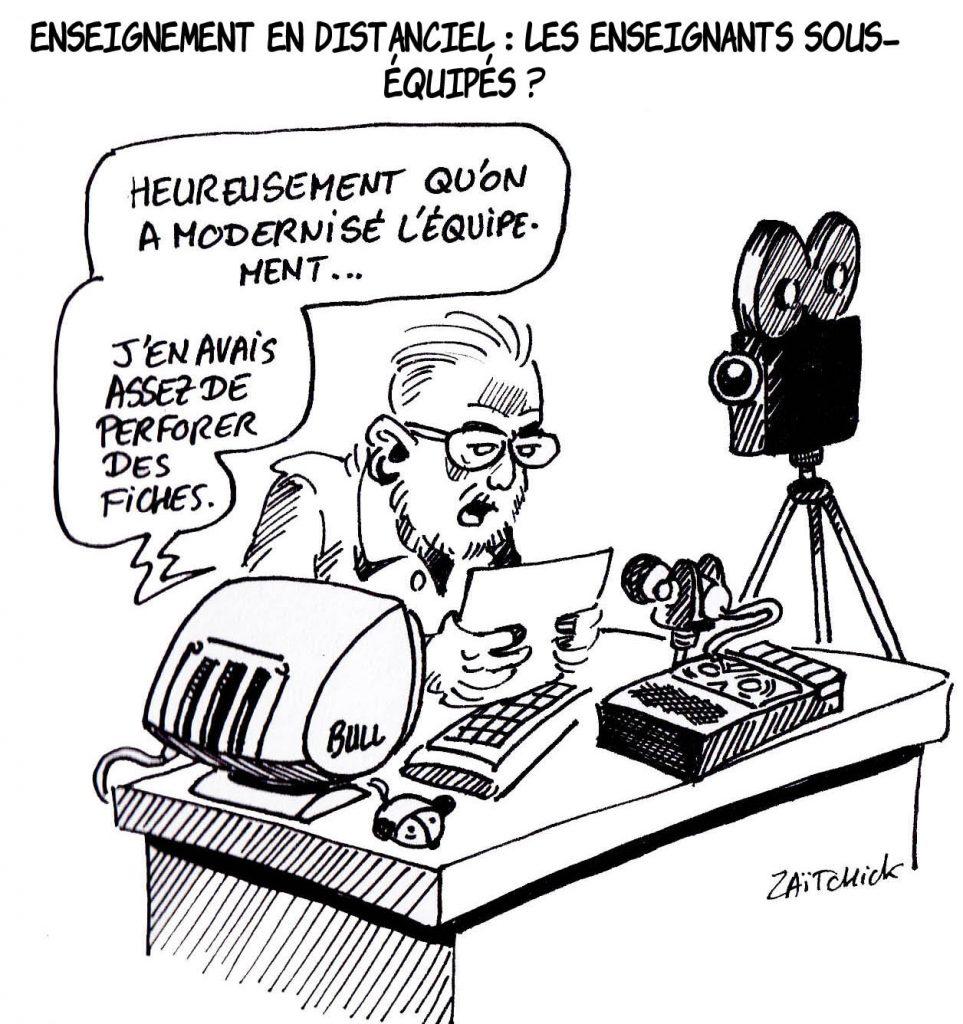 dessin presse humour télé-enseignement image drôle distanciel modernisation