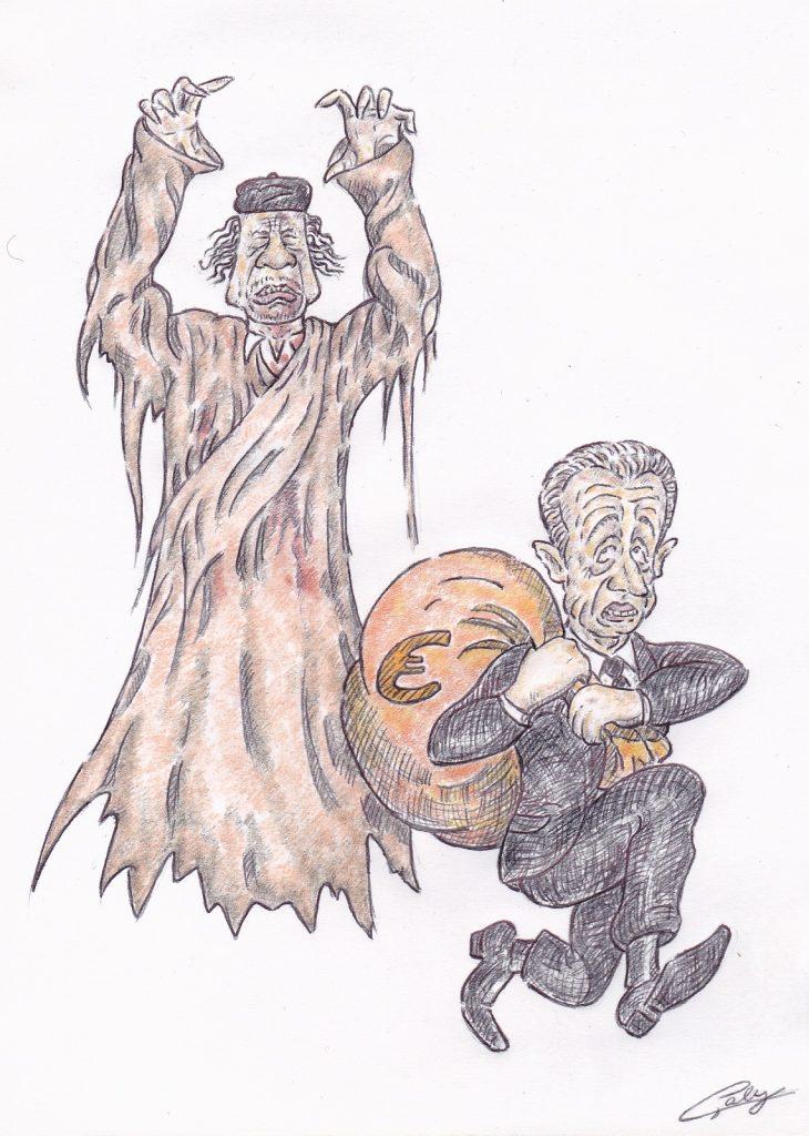 image drôle Nicolas Sarkozy dessin humour Halloween fantôme Mouammar Kadhafi