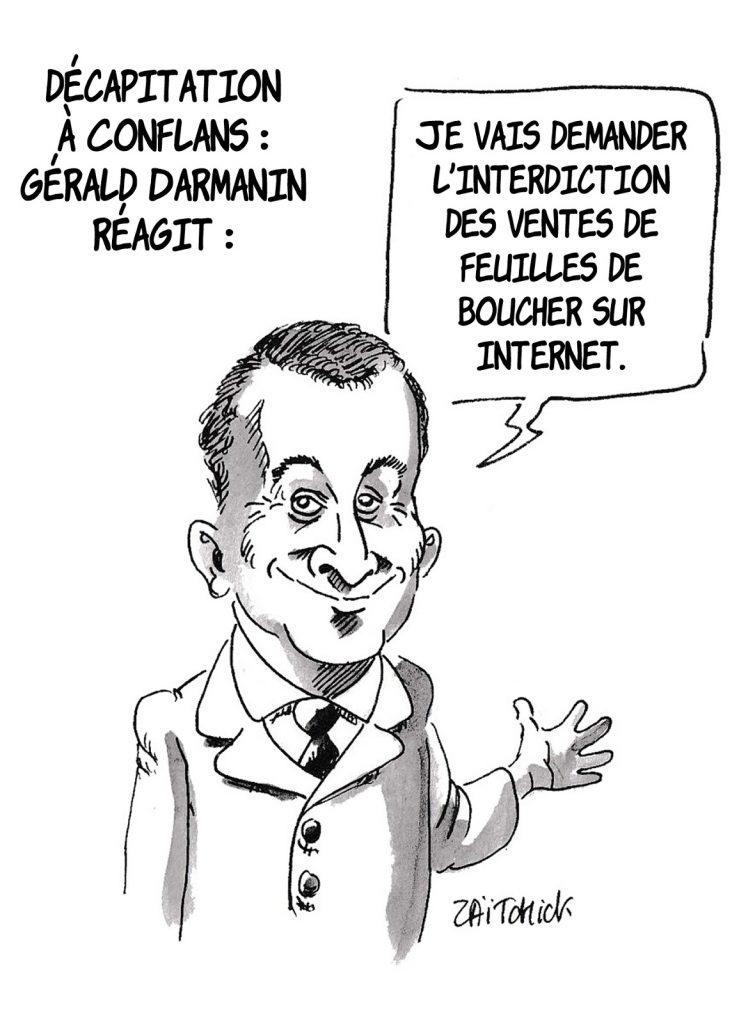 dessin presse humour Gérald Darmanin image drôle Conflans attentat Samuel Paty
